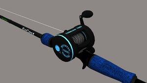 3D fishing rod reel model