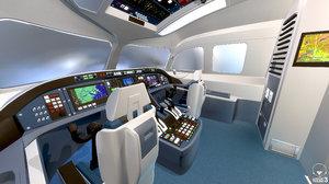 3D model cabin pilots aircraft interior