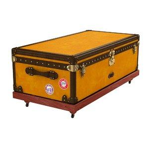 3D model trunk yellow canvas steamer