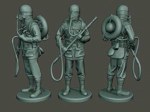 german soldier ww1 stand 3D model