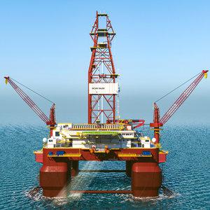 offshore oil rig platform 3d fbx