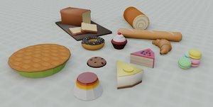 3D model bakery set