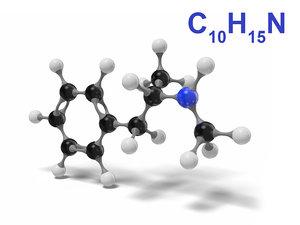 3D methamphetamine molecule c10h15n modeled model