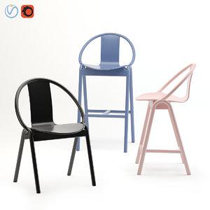 3D ton armchair barstool model