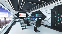 Sci-Fi Conference Room VR AR Game Ready