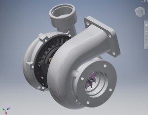 car turbo turbocharger modeled 3D model