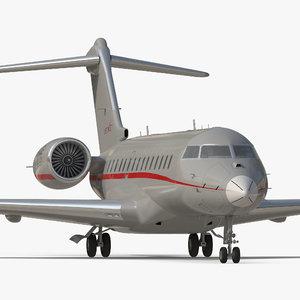 3D business jet global 6000