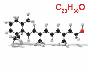 3D retinol molecule c20h30o modeled