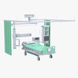 3D model hospital bed set