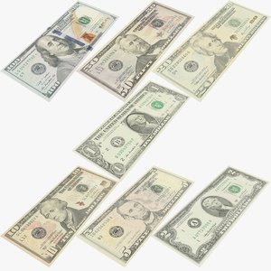 banknotes dollar bill 3D model