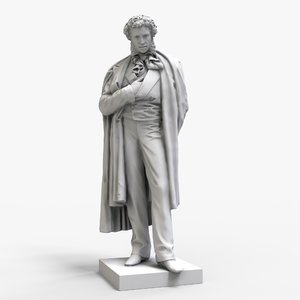 pushkin monument moscow 3D model