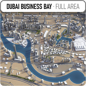 dubai business bay area 3D model