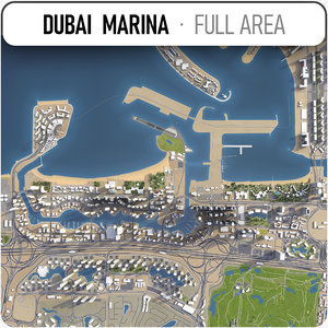 3D model dubai marina area -
