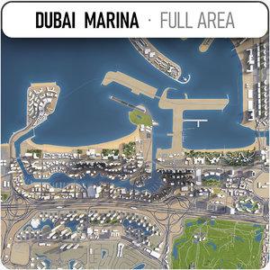 3D model dubai marina area -