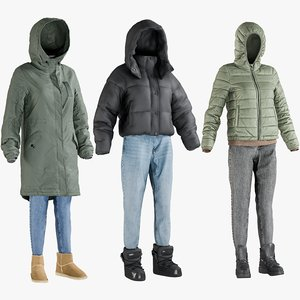 3D realistic women s winter