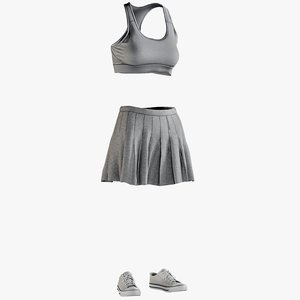 3D realistic skirt sports bra