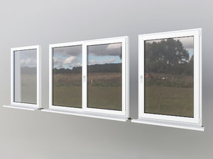 3D model windows interior exterior