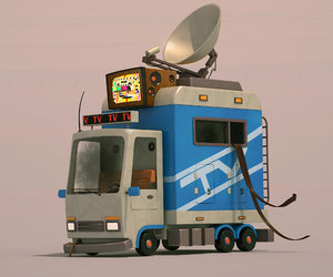 tv news car cartoon 3D model