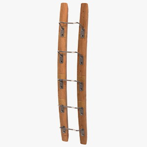 wooden mounted vertical wine rack 3D