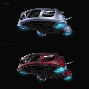 3D sci-fi hover car