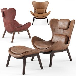 3D lazy armchair calligaris seat model