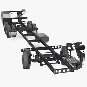 3D model bus chassis generic rigged