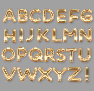 foil balloons golden alphabet 3D model
