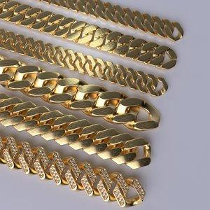3D cuban chains necklace model