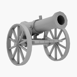 3D medieval cannon