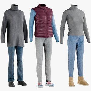 realistic women s clothing 3D model