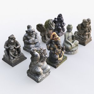 balinese statues 3D model