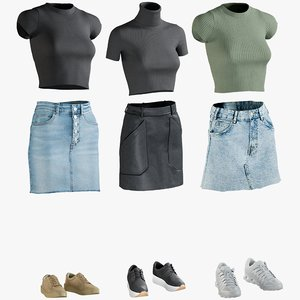 realistic women s clothing 3D model
