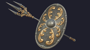 3D pbr fantasy trident oval