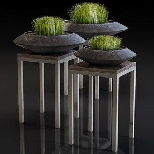 3D stylish black vase grass