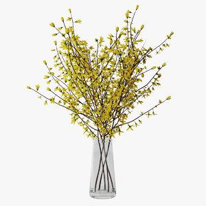 3D forsythia branches vase