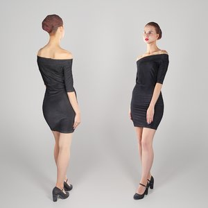 3D young woman dressed black