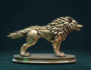 fantasy wolf sculpture figure 3D model