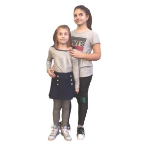3D model sisters hugging standing