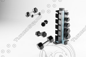 set dumbbells sport special 3D model
