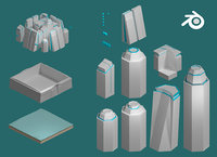 Sci-fi isometric city SET Low-poly