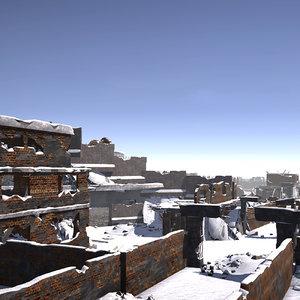 pack ruined city houses 3D model