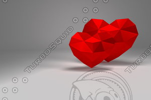 red polygonal heart 3D