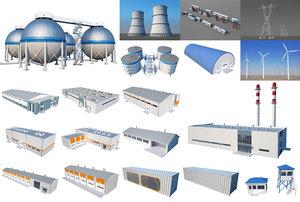 industrial building set 3D model