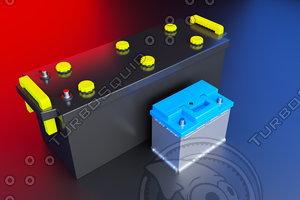 3D car acid battery 12v model
