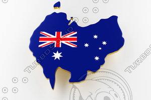 3D australia land border flag