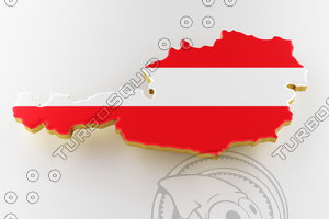 3D model austria flag land plot