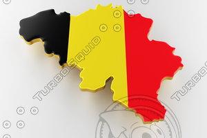 3D flag belgium border model