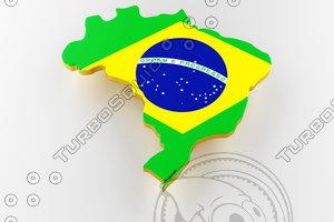 brazil land border flag 3D model