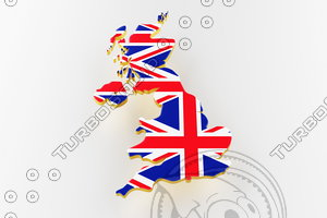 3D model great britain land border