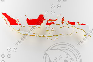 indonesia land border flag 3D model